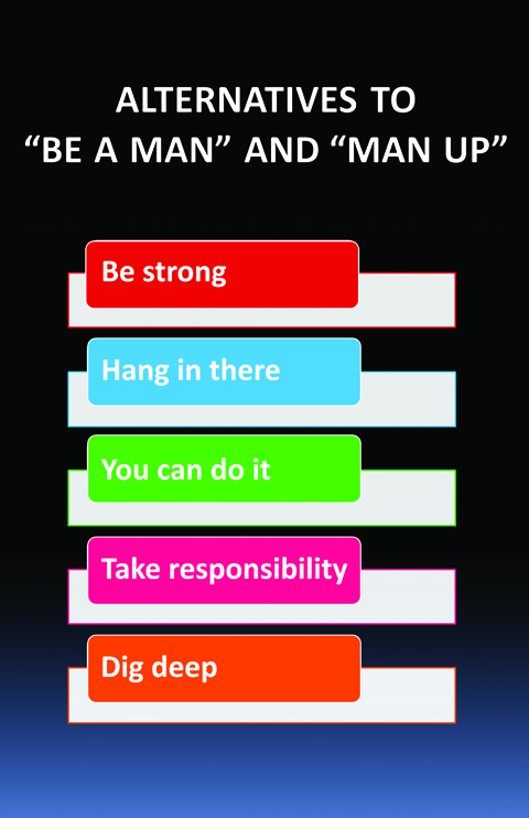 Building Boys alternatives to Be a Man and Man Up poster.