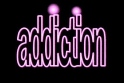 "The word ""addiction,"" outlined in pink"