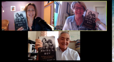 Jennifer L.W. Fink, Janet Allison & Michael C. Reichert hold up copies of the book How to Raise a Boy