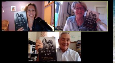 Jennifer L.W. Fink, Janet Allison & Michael C. Reichert hold up copies of the book How to Raise a Boy