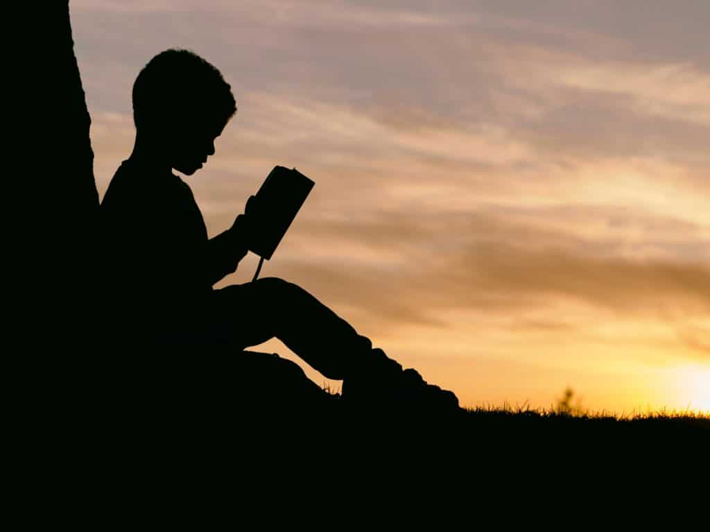 silhouette of boy reading in sunset