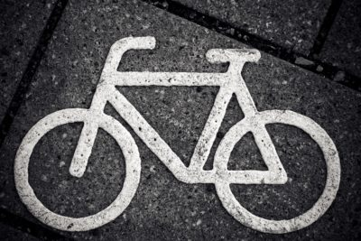 stenciled image of a bicycle